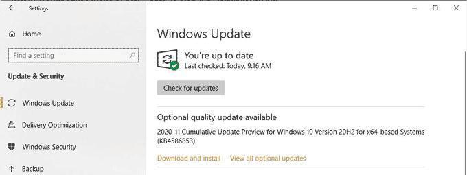 Optional Quality Update