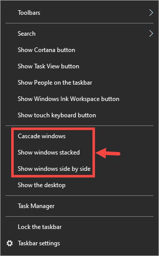 Taksbar App window options