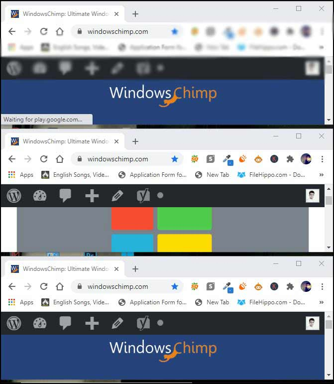 app windows stacked