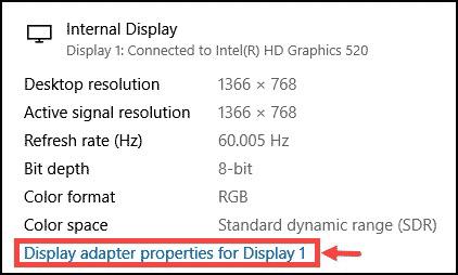 change display adapter properties