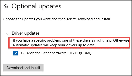 optional updates issues