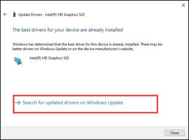 update drivers from Windows update
