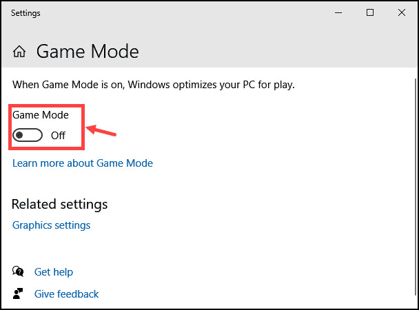 Switch ON OFF game mode