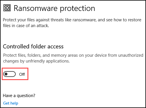 Enable controlled folder access