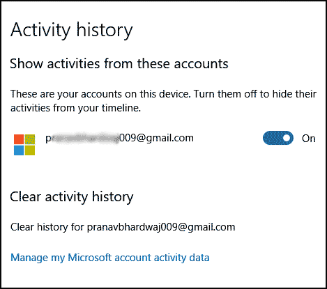 clear activity history