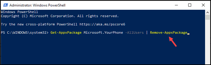 powershell uninstall command