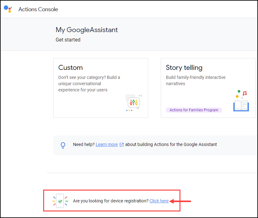 Register device for Google Assistant for PC