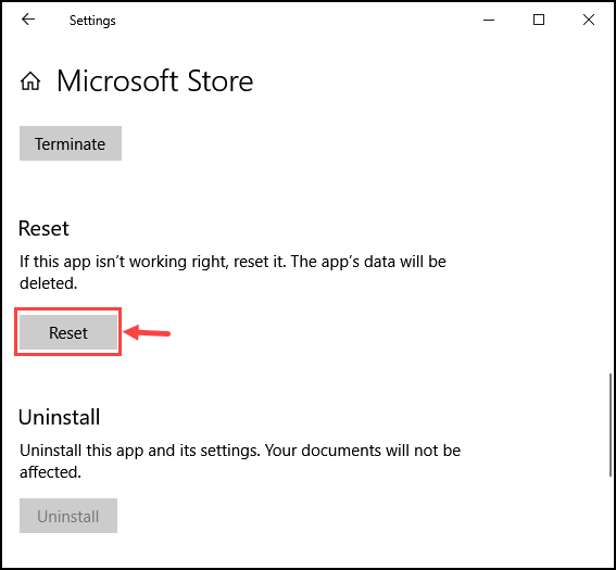 Reset Microsoft Store