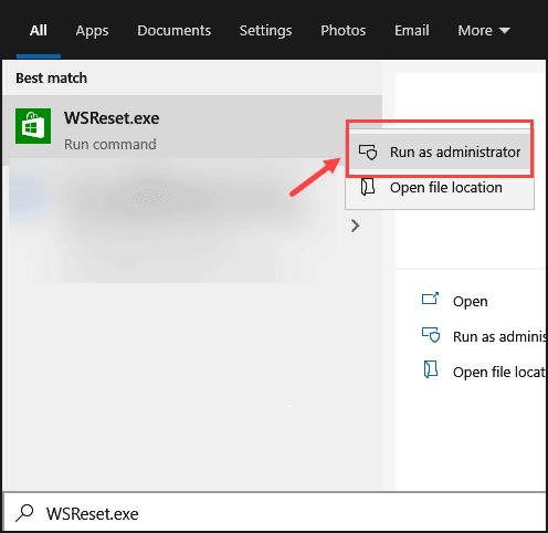 Run WSReset as Admin