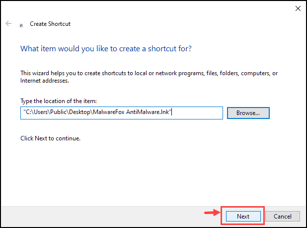 click next to continue