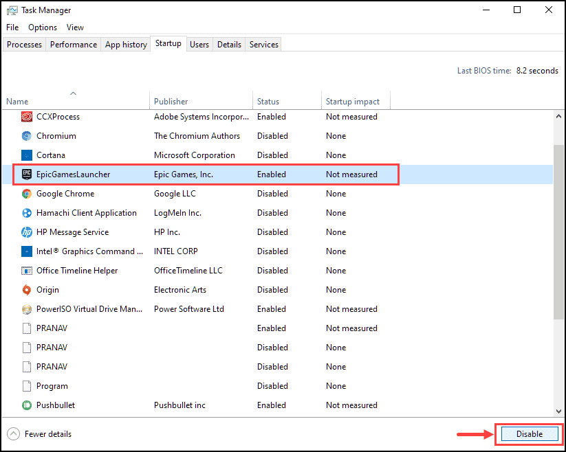 disable application on startup