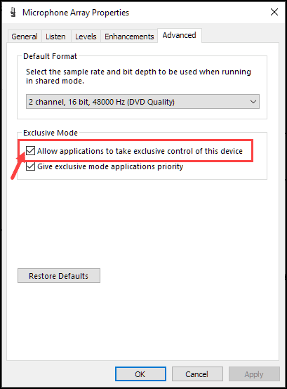 exclusive mode settings