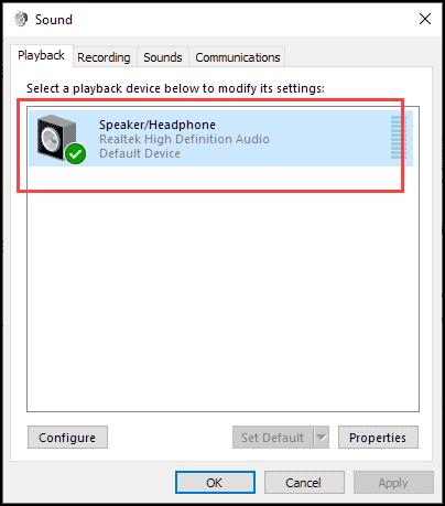 Set correct speaker