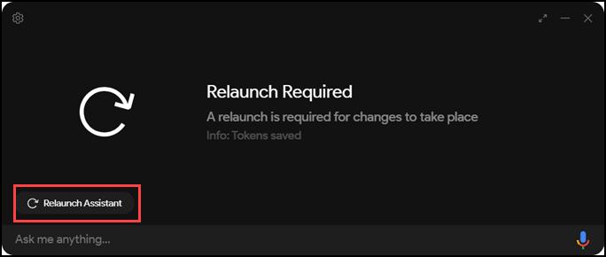 relaunch after saving token