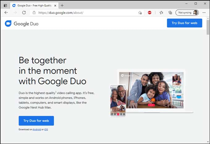 Google Duo in Edge Browser