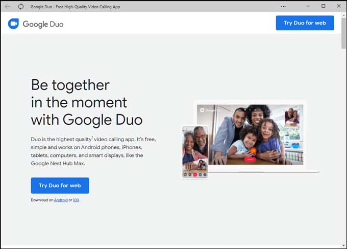 Google Duo web app from Edge Browser