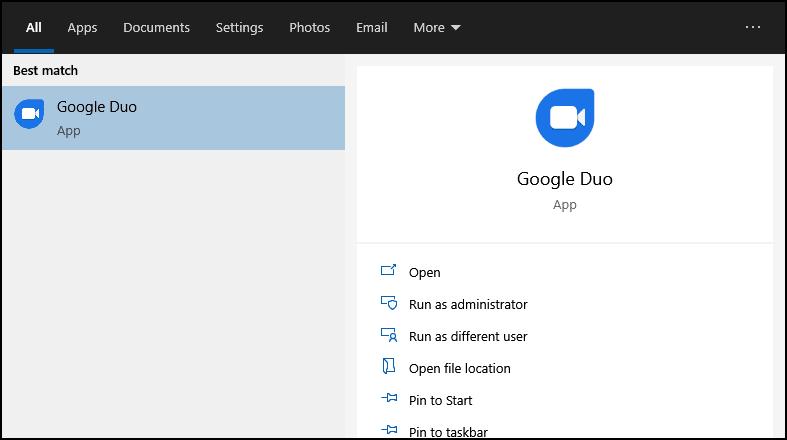 google duo installed through Chrome
