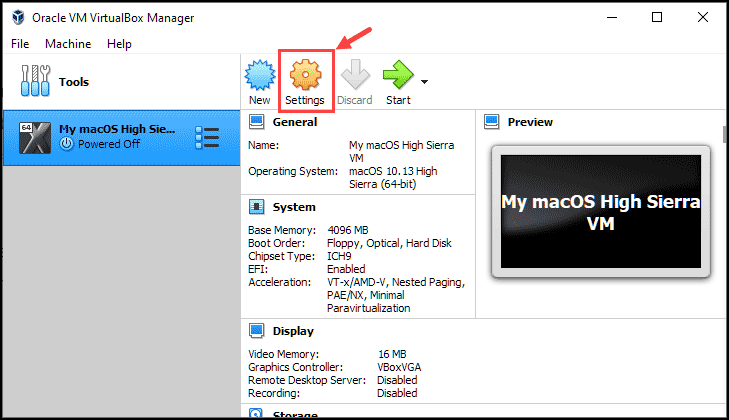 macOS VM settings