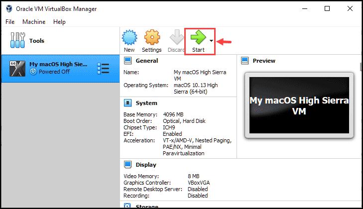 start installing the macOS