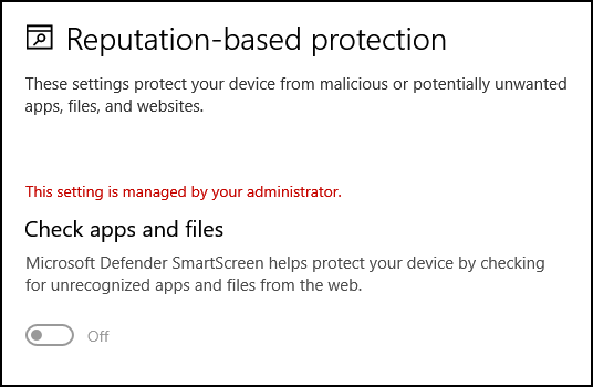 disable reputation based protection