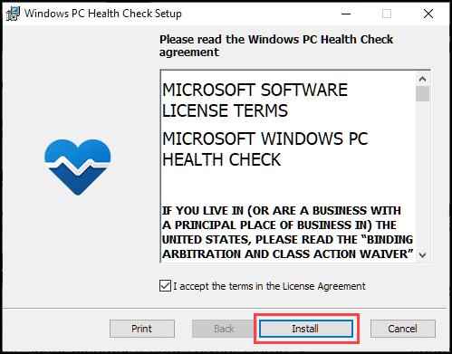 install windows pc health check