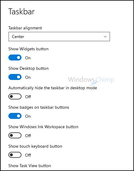 Windows 11 Taskbar options