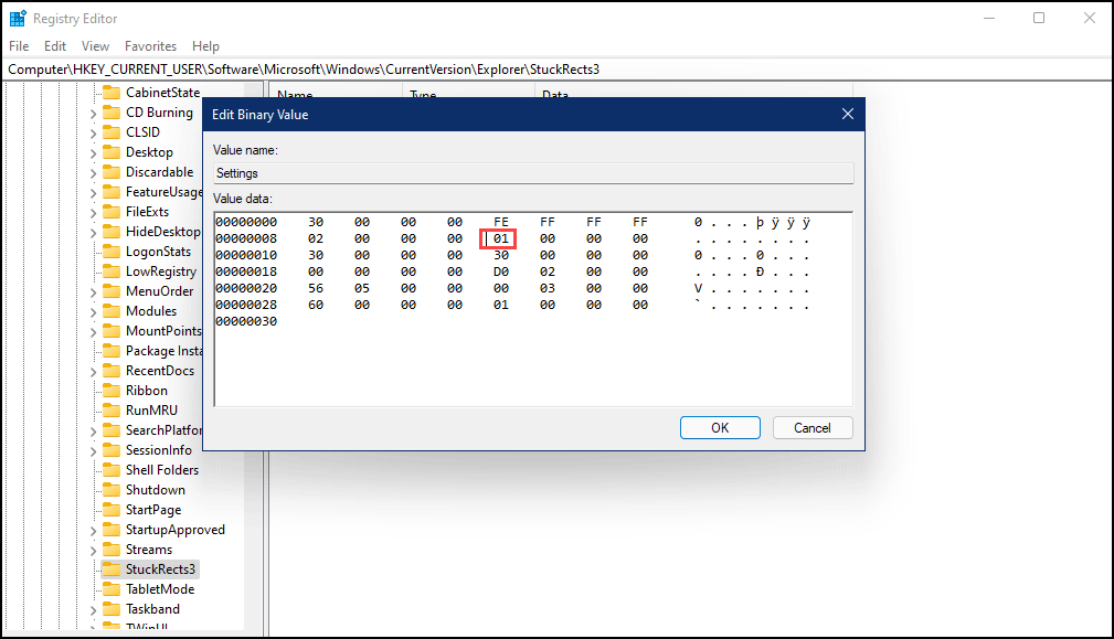 change stuckrects3 settings