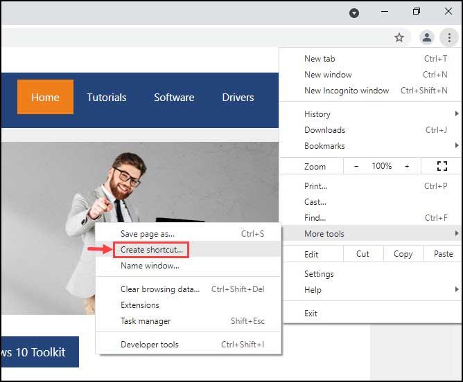 create webpage shortcut using chrome