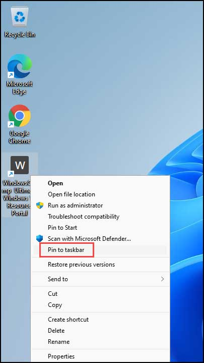 pin web page to taskbar using Chrome