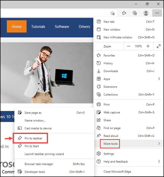 pin web page to taskbar using Edge