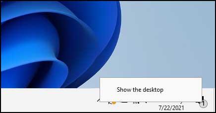 show the desktop