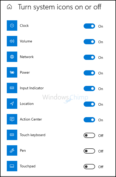 turn system icons on off