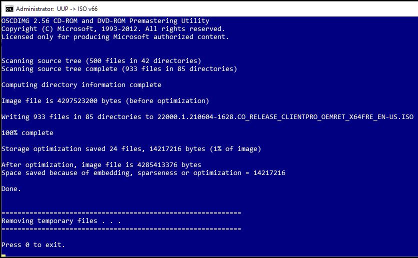 windows 11 ISO created