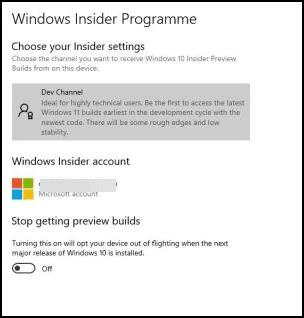 windows insider Dev Channel