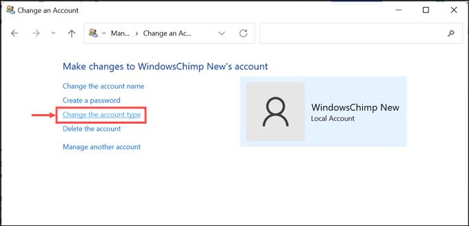change the account type option