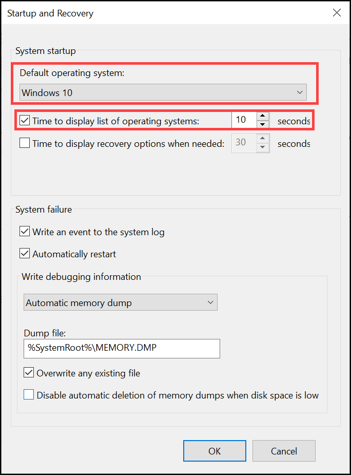 choose default OS