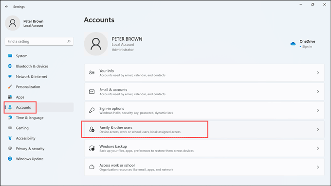 family and other user option