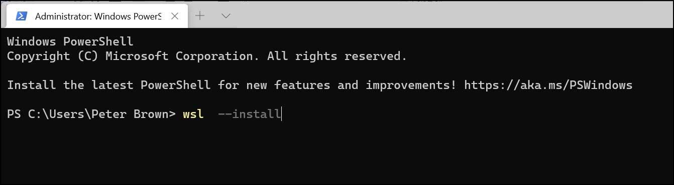 install wsl