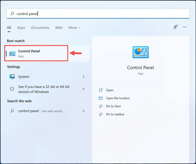 launch control panel in Windows 11