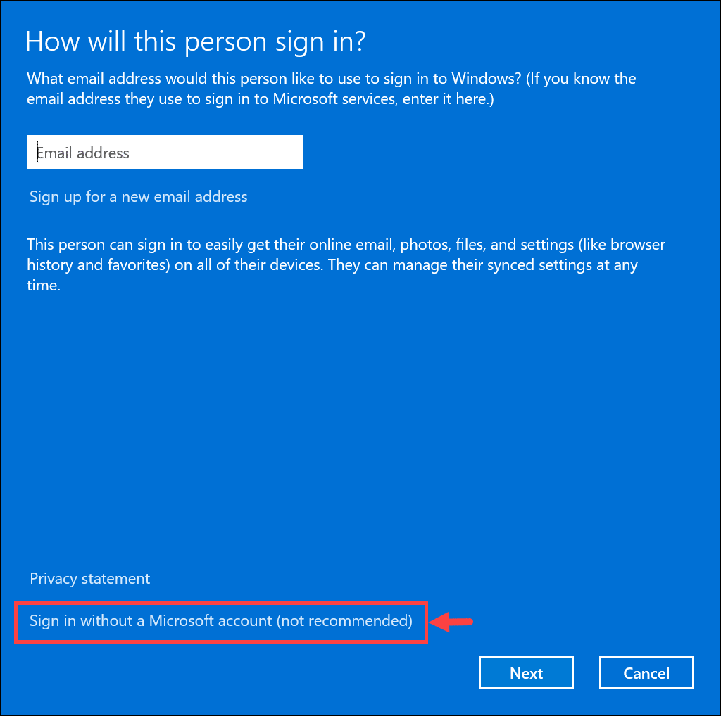 sign in without ms account