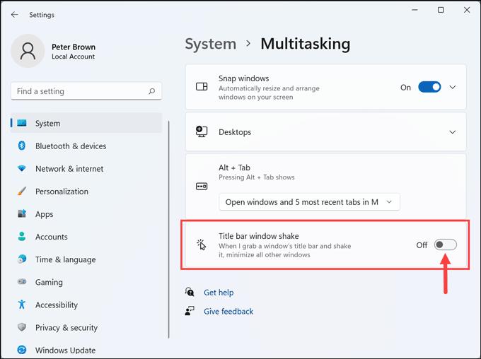 title bar window shake Windows 11