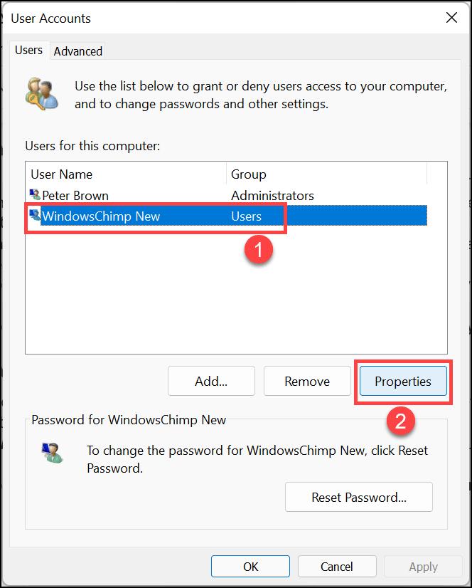 user accounts properties