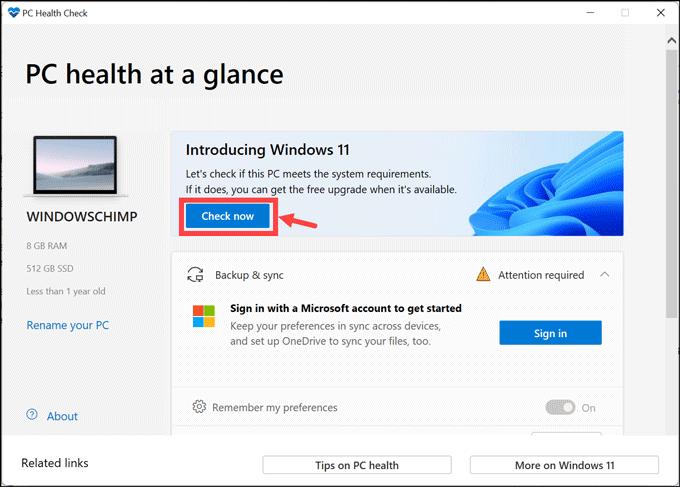 PC health app check now button