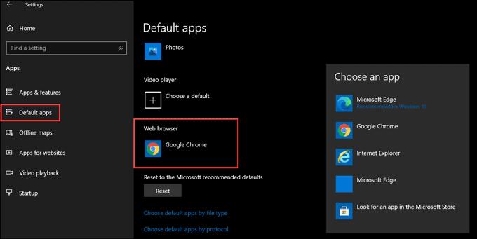 choose default browser on Windows 10