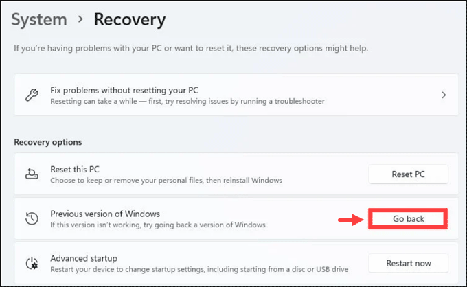 go back to Windows 10