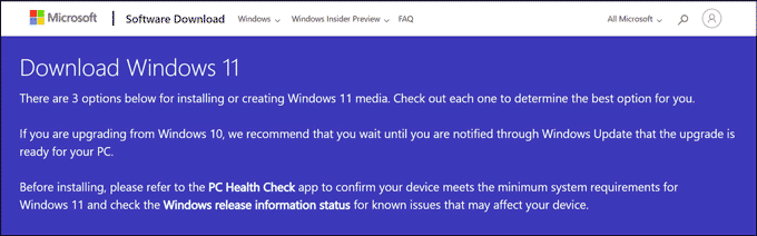 Download Windows 11 webpage