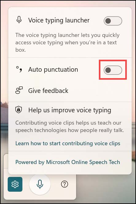enable punctuation in Windows 11 Voice Typing