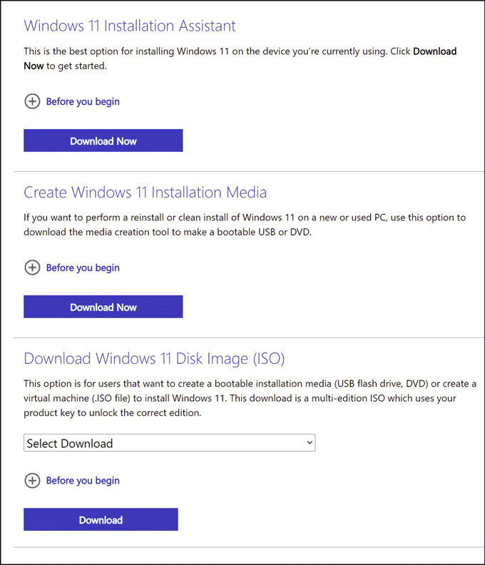 options to install Windows 11